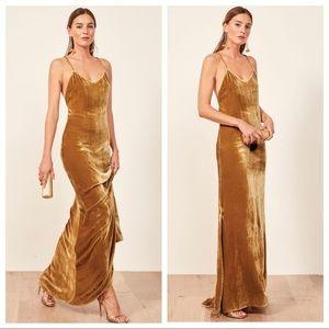 Reformation Gold Rimini Velvet Slip Maxi Dress